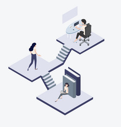 people work isometric concept vector image