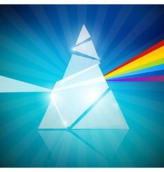 Prism spectrum on blue background vector