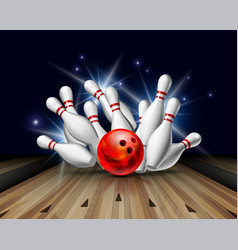Red bowling ball crashing into pins on bowling vector