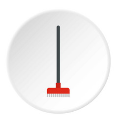 red broom icon circle vector image