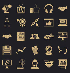 Remote transmission icons set simple style vector