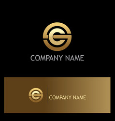 round letter c gold logo vector image