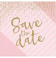 Save date hand drawn with confetti pink and vector