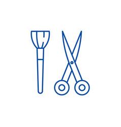 scissors and visagiste brush line icon concept vector image