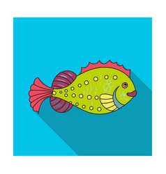 sea fish icon in flat style isolated on white vector image