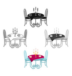 Served table in restaurant furniture single vector
