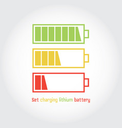 set charging lithium battery vector image