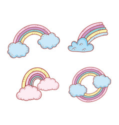 set nature rainbow style weather with clouds vector image