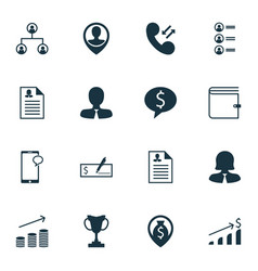 set of 16 human resources icons includes manager vector image