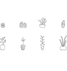 Set of cute potted plants vector