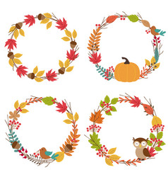 Set of isolated autumn frames vector