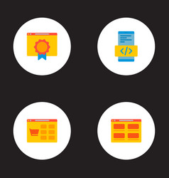 set of wd icons flat style symbols with products vector image