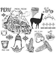 Set peruvian symbols and elements vector