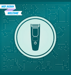 Shaver hairclipper icon on a green background vector