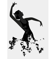 Silhouette of spanish flamenco dancer isolated on vector