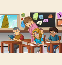 Student and teacher in the classroom vector