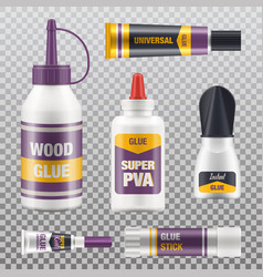 super glue stick tube packages realistic mockups vector image