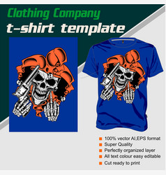 T-shirt template fully editable with skull and gun vector
