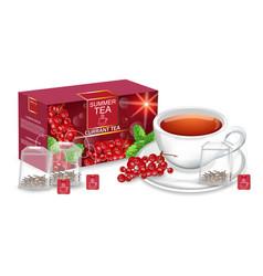 tea packaging realistic mock up summer vector image