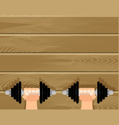 train hands with dumbbells in gym vector image