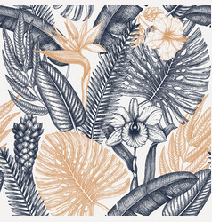 tropical flora seamless pattern tropical plants vector image