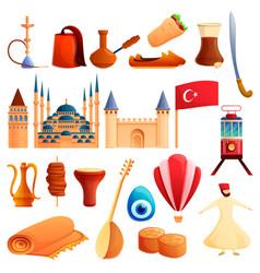 Turkey country icons set cartoon style vector
