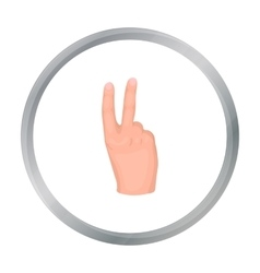 Victory sign icon in cartoon style isolated on vector