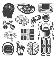 Vintage artificial intelligence icons set vector