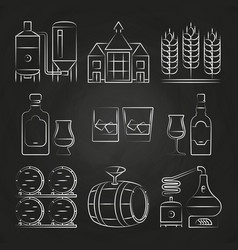Whiskey process and icons on chalkboard vector