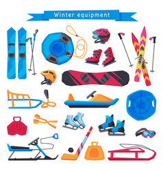 winter outdoor sports and leisure equipment vector image
