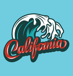 With calligraphic lettering california and palm vector