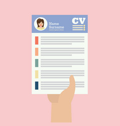 woman hand holding cv application paper sheet vector image