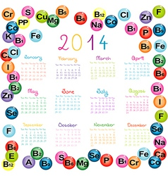 2014 calendar with vitamins and minerals for vector