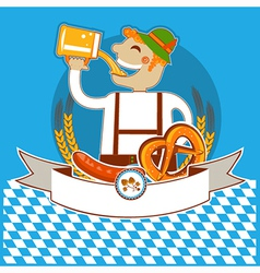 oktoberfest symbol label with man and beer color vector image vector image