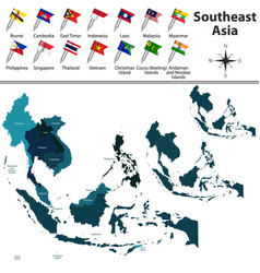 political map of southeast asia vector image