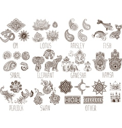 set of sketches mehndi vector image vector image