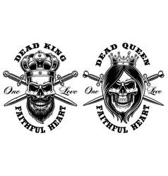 set of skulls king and queen vector image
