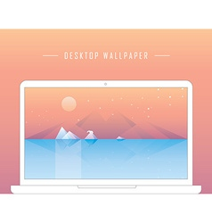 Smooth polygonal landscape design with laptop vector image vector image