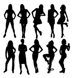 beauty lady silhouettes vector image vector image