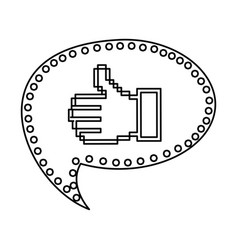 contour of pixel thumb up inside on speech bubble vector image