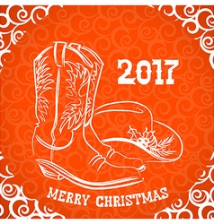 Cowboy merry christmas with cowboy boots and vector image vector image