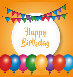 Happy birthday poster celebration party balloons vector