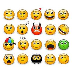 Set of bright yellow round emotions vector image vector image