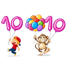 boy and monkey with balloon for number 10 vector image