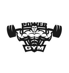 gym monochrome logo emblem vector image