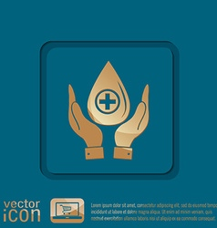 hands holding a drop donate medical icon vector image
