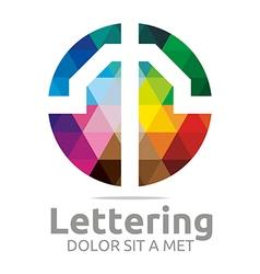 Lettering t rainbow alphabet design vector