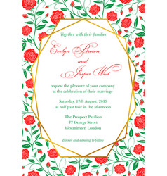 Wedding invitation red roses floral invite card vector