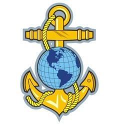 gold anchor an globe logo vector image vector image
