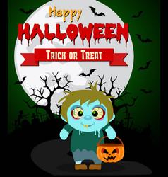 halloween background with kids zombie vector image vector image